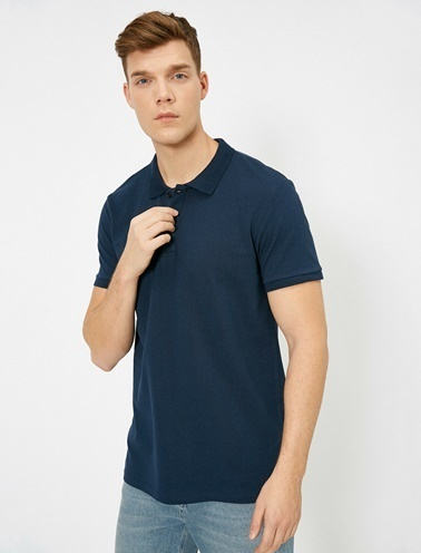 Koton Polo Yaka Kisa Kollu Slim Fit Basic T-Shirt Lacivert
